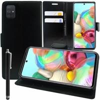 "Samsung Galaxy A71 6.7"" SM-A715F A715F/DS A715F/DSN A715F/DSM [Les Dimensions EXACTES du telephone: 163.6 x 76 x 7.7 mm]: Etui portefeuille Support Video cuir PU + Stylet - NOIR"