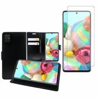 """Samsung Galaxy A71 6.7"""": Etui Coque Housse Pochette Accessoires portefeuille support video cuir PU - NOIR + 1 Film de protection d'écran Verre Trempé"""