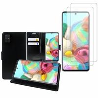 """Samsung Galaxy A71 6.7"""": Etui Coque Housse Pochette Accessoires portefeuille support video cuir PU - NOIR + 2 Films de protection d'écran Verre Trempé"""