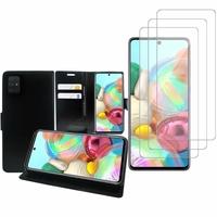 """Samsung Galaxy A71 6.7"""": Etui Coque Housse Pochette Accessoires portefeuille support video cuir PU - NOIR + 3 Films de protection d'écran Verre Trempé"""
