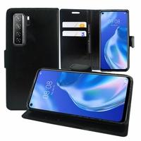 "Huawei P40 lite 5G/ Nova 7 SE 6.5"" CDY-NX9B CDY-AN00 (non compatible Huawei P40 lite E 6.39""/ P40 lite 6.4""): Etui portefeuille Support Video cuir PU - NOIR"