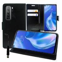 "Huawei P40 lite 5G/ Nova 7 SE 6.5"" CDY-NX9B CDY-AN00 (non compatible Huawei P40 lite E 6.39""/ P40 lite 6.4""): Etui portefeuille Support Video cuir PU + mini Stylet - NOIR"