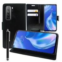 "Huawei P40 lite 5G/ Nova 7 SE 6.5"" CDY-NX9B CDY-AN00 (non compatible Huawei P40 lite E 6.39""/ P40 lite 6.4""): Etui portefeuille Support Video cuir PU + Stylet - NOIR"