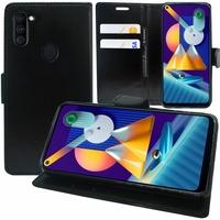 "Samsung Galaxy M11 6.4"" SM-M115F M115F/DS M115F/DSN [Les Dimensions EXACTES du telephone: 161.4 x 76.3 x 9 mm]: Etui portefeuille Support Video cuir PU - NOIR"