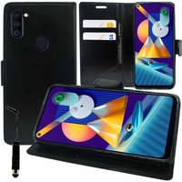 "Samsung Galaxy M11 6.4"" SM-M115F M115F/DS M115F/DSN [Les Dimensions EXACTES du telephone: 161.4 x 76.3 x 9 mm]: Etui portefeuille Support Video cuir PU + mini Stylet - NOIR"