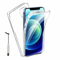 """Apple iPhone 12 6.1"""" A2403 A2172 A2402 A2404 (non compatible iPhone 12 mini 5.4""""): Coque Avant et Arrière Silicone 360° protection intégrale  + mini Stylet - TRANSPARENT"""