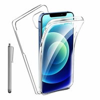 """Apple iPhone 12 6.1"""" A2403 A2172 A2402 A2404 (non compatible iPhone 12 mini 5.4""""): Coque Avant et Arrière Silicone 360° protection intégrale  + Stylet - TRANSPARENT"""