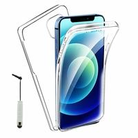 """Apple iPhone 12 mini 5.4"""" A2399 A2176 A2398 A2400 (non compatible iPhone 12 6.1""""): Coque Avant et Arrière Silicone 360° protection intégrale  + mini Stylet - TRANSPARENT"""
