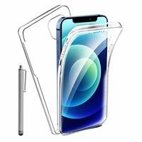 """Apple iPhone 12 mini 5.4"""" A2399 A2176 A2398 A2400 (non compatible iPhone 12 6.1""""): Coque Avant et Arrière Silicone 360° protection intégrale  + Stylet - TRANSPARENT"""