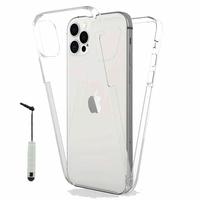 """Apple iPhone 12 Pro 6.1"""" A2407 A2341 A2406 A2408 (non compatible iPhone 12 Pro Max 6.7""""): Coque Avant et Arrière Silicone 360° protection intégrale  + mini Stylet - TRANSPARENT"""
