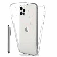 """Apple iPhone 12 Pro 6.1"""" A2407 A2341 A2406 A2408 (non compatible iPhone 12 Pro Max 6.7""""): Coque Avant et Arrière Silicone 360° protection intégrale  + Stylet - TRANSPARENT"""