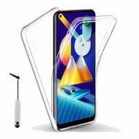"""Samsung Galaxy M11 6.4"""" SM-M115F M115F/DS M115F/DSN [Les Dimensions EXACTES du telephone: 161.4 x 76.3 x 9 mm]: Coque Avant et Arrière Silicone 360° protection intégrale  + mini Stylet - TRANSPARENT"""
