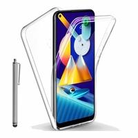 """Samsung Galaxy M11 6.4"""" SM-M115F M115F/DS M115F/DSN [Les Dimensions EXACTES du telephone: 161.4 x 76.3 x 9 mm]: Coque Avant et Arrière Silicone 360° protection intégrale  + Stylet - TRANSPARENT"""