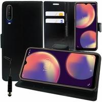 "Wiko View 4 6.52"" (non compatible Wiko View4 Lite) [Les Dimensions EXACTES du telephone: 165.7 x 75.8 x 8.85 mm]: Etui portefeuille Support Video cuir PU + mini Stylet - NOIR"