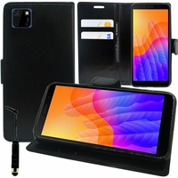 "Huawei Y5p/ Honor 9S 5.45"" DRA-LX9 DUA-LX9 [Les Dimensions EXACTES du telephone: 146.5 x 70.9 x 8.4 mm]: Etui portefeuille Support Video cuir PU + mini Stylet - NOIR"