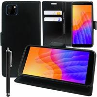 "Huawei Y5p/ Honor 9S 5.45"" DRA-LX9 DUA-LX9 [Les Dimensions EXACTES du telephone: 146.5 x 70.9 x 8.4 mm]: Etui portefeuille Support Video cuir PU + Stylet - NOIR"