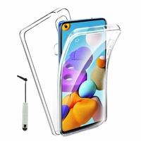 """Samsung Galaxy A21S 6.5"""" SM-A217F A217F/DS A217F/DSN A217M A217N (non compatible Galaxy A21): Coque Avant et Arrière Silicone 360° protection intégrale  + mini Stylet - TRANSPARENT"""