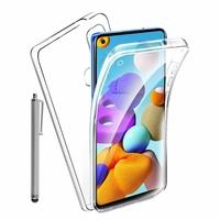 """Samsung Galaxy A21S 6.5"""" SM-A217F A217F/DS A217F/DSN A217M A217N (non compatible Galaxy A21): Coque Avant et Arrière Silicone 360° protection intégrale  + Stylet - TRANSPARENT"""