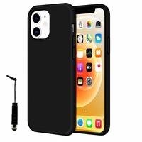 "Apple iPhone 12 6.1"" A2403 A2172 A2402 A2404 (non compatible iPhone 12 mini 5.4""): Coque TPU silicone mat souple ultra-fine antidérapant + mini Stylet - NOIR"