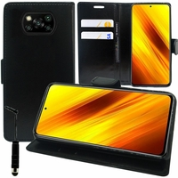 "Xiaomi Poco X3 NFC/ Poco X3 6.67"" M2007J20CG M2007J20CT MZB07Z0IN MZB07Z1IN MZB07Z2IN MZB07Z3IN MZB07Z4IN MZB9965IN M2007J20CI: Etui portefeuille Support Video cuir PU + mini Stylet - NOIR"