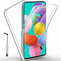 """Samsung Galaxy A51 6.5"""" SM-A515F, A515FN, A515GN, A515FM, A515YN, A515W, A515X, A515F/DSN: Coque Avant et Arrière Silicone 360° protection intégrale  + mini Stylet - TRANSPARENT"""