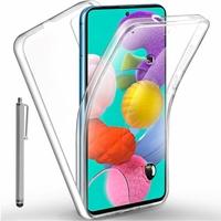 """Samsung Galaxy A51 6.5"""" SM-A515F, A515FN, A515GN, A515FM, A515YN, A515W, A515X, A515F/DSN: Coque Avant et Arrière Silicone 360° protection intégrale  + Stylet - TRANSPARENT"""