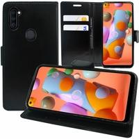 """Samsung Galaxy A11 6.4"""" SM-A115F A115M A115F/DS A115F/DSN A115M/DS [Les Dimensions EXACTES du telephone: 161.4 x 76.3 x 8 mm]: Etui portefeuille Support Video cuir PU - NOIR"""