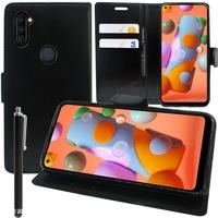 """Samsung Galaxy A11 6.4"""" SM-A115F A115M A115F/DS A115F/DSN A115M/DS [Les Dimensions EXACTES du telephone: 161.4 x 76.3 x 8 mm]: Etui portefeuille Support Video cuir PU + Stylet - NOIR"""