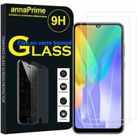 """Huawei Y6p 6.3"""" MED-LX9 MED-LX9N ART-L29 [Les Dimensions EXACTES du telephone: 159.1 x 74.1 x 9 mm]: Lot / Pack de 2 Films de protection d'écran Verre Trempé"""