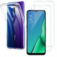 """Oppo A11 6.5"""": Etui Housse Pochette Accessoires Coque gel UltraSlim - TRANSPARENT + 2 Films de protection d'écran Verre Trempé"""