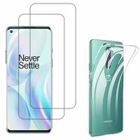 """OnePlus 8 6.55"""": Etui Housse Pochette Accessoires Coque gel UltraSlim - TRANSPARENT + 2 Films de protection d'écran Verre Trempé"""