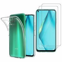 """Huawei Nova 7i/ P40 Lite 6.4"""": Etui Housse Pochette Accessoires Coque gel UltraSlim - TRANSPARENT + 2 Films de protection d'écran Verre Trempé"""