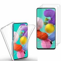 """Samsung Galaxy A51 6.5"""": Coque Housse Silicone Gel TRANSPARENTE ultra mince 360° protection intégrale Avant et Arrière - TRANSPARENT + 2 Films de protection d'écran Verre Trempé"""