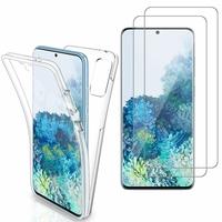 """Samsung Galaxy S20+ Plus/ S20+ 5G 6.7"""": Coque Housse Silicone Gel TRANSPARENTE ultra mince 360° protection intégrale Avant et Arrière - TRANSPARENT + 2 Films de protection d'écran Verre Trempé"""