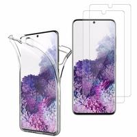 """Samsung Galaxy S20/ S20 5G 6.2"""": Coque Housse Silicone Gel TRANSPARENTE ultra mince 360° protection intégrale Avant et Arrière - TRANSPARENT + 2 Films de protection d'écran Verre Trempé"""