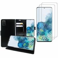 """Samsung Galaxy S20+ Plus/ S20+ 5G 6.7"""": Etui Coque Housse Pochette Accessoires portefeuille support video cuir PU - NOIR + 2 Films de protection d'écran Verre Trempé"""