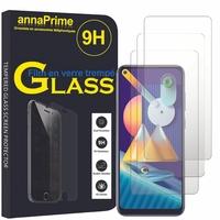 """Samsung Galaxy M11 6.4"""" SM-M115F M115F/DS M115F/DSN [Les Dimensions EXACTES du telephone: 161.4 x 76.3 x 9 mm]: Lot / Pack de 3 Films de protection d'écran Verre Trempé"""