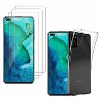 """Huawei Honor V30 Pro/ Honor View30 Pro 6.57"""": Etui Housse Pochette Accessoires Coque gel UltraSlim - TRANSPARENT + 3 Films de protection d'écran Verre Trempé"""