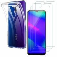 """Oppo A5 (2020) 6.5"""": Etui Housse Pochette Accessoires Coque gel UltraSlim - TRANSPARENT + 3 Films de protection d'écran Verre Trempé"""