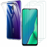 """Oppo A9 (2020)/ Oppo A11X 6.5"""": Etui Housse Pochette Accessoires Coque gel UltraSlim - TRANSPARENT + 3 Films de protection d'écran Verre Trempé"""