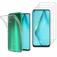 """Huawei Nova 7i/ P40 Lite 6.4"""": Etui Housse Pochette Accessoires Coque gel UltraSlim - TRANSPARENT + 3 Films de protection d'écran Verre Trempé"""