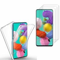 """Samsung Galaxy A51 6.5"""": Coque Housse Silicone Gel TRANSPARENTE ultra mince 360° protection intégrale Avant et Arrière - TRANSPARENT + 3 Films de protection d'écran Verre Trempé"""