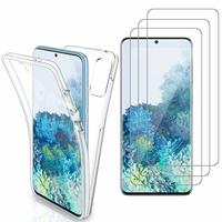 """Samsung Galaxy S20+ Plus/ S20+ 5G 6.7"""": Coque Housse Silicone Gel TRANSPARENTE ultra mince 360° protection intégrale Avant et Arrière - TRANSPARENT + 3 Films de protection d'écran Verre Trempé"""