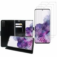 """Samsung Galaxy S20/ S20 5G 6.2"""": Etui Coque Housse Pochette Accessoires portefeuille support video cuir PU - NOIR + 3 Films de protection d'écran Verre Trempé"""