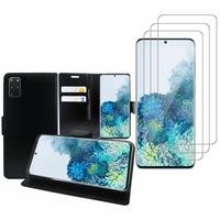 """Samsung Galaxy S20+ Plus/ S20+ 5G 6.7"""": Etui Coque Housse Pochette Accessoires portefeuille support video cuir PU - NOIR + 3 Films de protection d'écran Verre Trempé"""