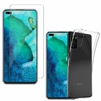 """Huawei Honor V30 Pro/ Honor View30 Pro 6.57"""": Etui Housse Pochette Accessoires Coque gel UltraSlim - TRANSPARENT + 1 Film de protection d'écran Verre Trempé"""