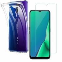 """Oppo A9 (2020)/ Oppo A11X 6.5"""": Etui Housse Pochette Accessoires Coque gel UltraSlim - TRANSPARENT + 1 Film de protection d'écran Verre Trempé"""