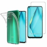 """Huawei Nova 7i/ P40 Lite 6.4"""": Etui Housse Pochette Accessoires Coque gel UltraSlim - TRANSPARENT + 1 Film de protection d'écran Verre Trempé"""