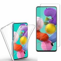 """Samsung Galaxy A51 6.5"""": Coque Housse Silicone Gel TRANSPARENTE ultra mince 360° protection intégrale Avant et Arrière - TRANSPARENT + 1 Film de protection d'écran Verre Trempé"""