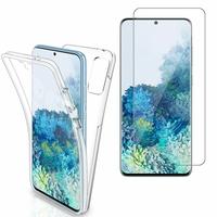 """Samsung Galaxy S20+ Plus/ S20+ 5G 6.7"""": Coque Housse Silicone Gel TRANSPARENTE ultra mince 360° protection intégrale Avant et Arrière - TRANSPARENT + 1 Film de protection d'écran Verre Trempé"""
